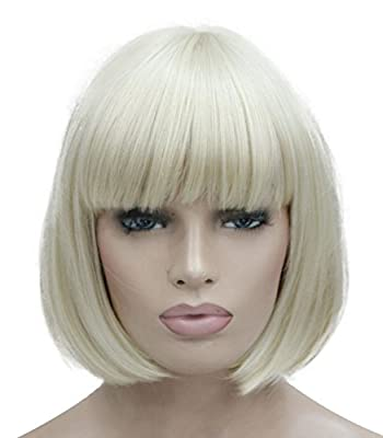 """Lydell 8"""" Straight Short Bob Hair Flat Bangs Cute Central Dot Skin Top Heat Resistant Synthetic Wigs (614 Pale Blonde)"""