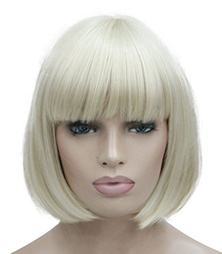 Lydell 8' Straight Short Bob Hair Flat Bangs Cute Central Dot Skin Top...