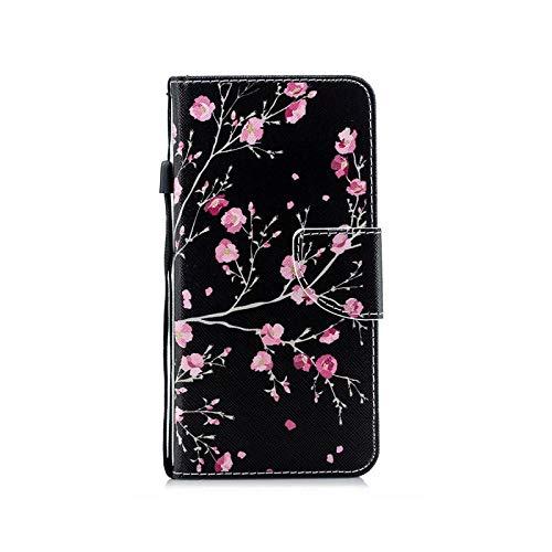 Funda para Huawei Mate 10 20 30 P8 P9 P10 P20 P30 Lite Pro P Smart Plus 2019 – Black Pink Flower for P9 Lite Mini