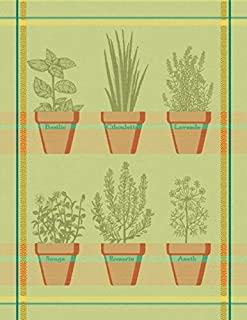 Mierco European Cotton Jacquard Dish Tea Towel Terra Cotta Herb Pots