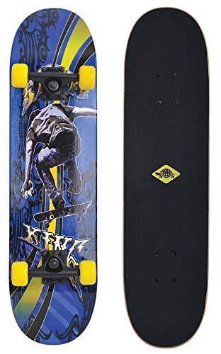 Schildkröt Skateboard Slider 31, attraktives Freizeit Komplett-Board, verschiedene Deck-Designs wählbar, konkave Deckform mit Doppel-Kick und Griptape, 9-lagiges Ahornholz, ABEC7 Kugellager