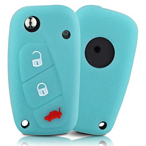 ASARAH Cover chiavi auto PREMIUM in silicone compatibile con Fiat, Copertura protettiva per chiavi dell'auto, Copertina per tipo di chiave 3BKB-c - Luminoso blu