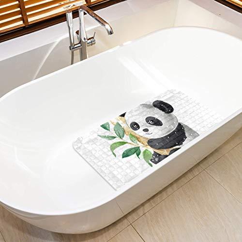 AITAI Alfombrilla antideslizante para bañera con ventosas fuertes y agujeros de drenaje, diseño de árbol panda
