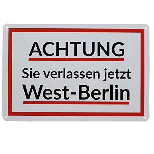 Blechschild Achtung Sie verlassen jetzt West-Berlin, 20x30 cm   Das ehemalige Warnschild aus Berlin   DDR Nostalgie