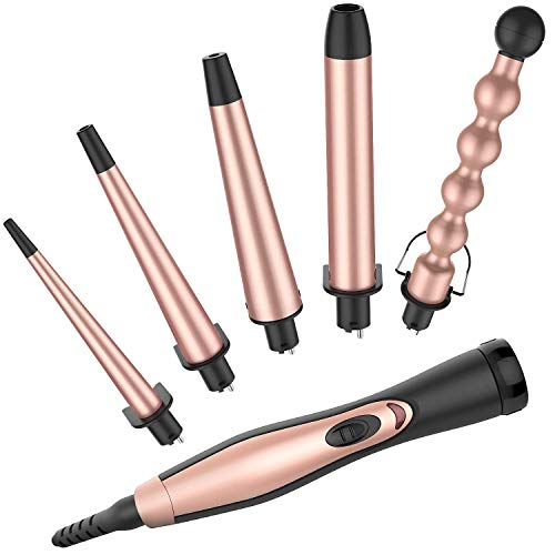 Curling Tongs BESTOPE 5 in 1 Professional Curling Iron Set with 5 Interchangeable Tourmaline Ceramic Barrels Dual Voltage Heat Resistant Glove Gold Rose