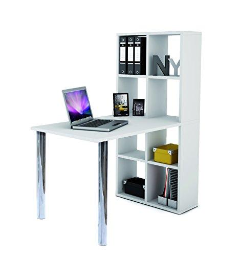Demeyere 205604 Schreibtisch mit Regal LEXINGTON Melamin, 120 x 142 x 66 cm, weiß
