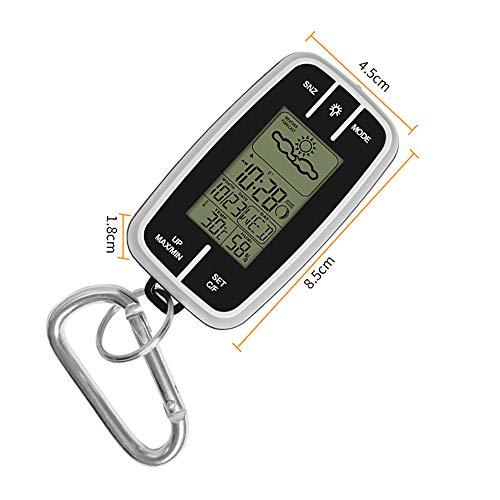 DeeCozy Wetterstation Funk mit Außensensor,Mini tragbare Wetterstation Vorhersage Temperatur Luftfeuchtigkeit Uhr Taschenlampe & Kompass Thermometer,Wecker,Wettervorhersage