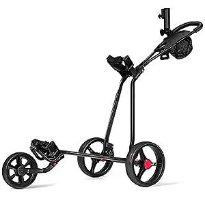 COSTWAY 3-Rad Golftrolley klappbar, Golfwagen mit verstellbarem Griff, Schiebewagen, Metall Golf Push Cart, Golfcaddy mit Schirm-, Tassen- und Telefonhalter, schwarz