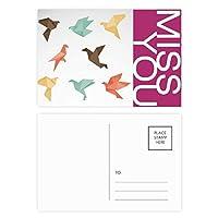 抽象的なカラフルな鳥の折り紙のパターン ポストカードセットサンクスカード郵送側20個ミス