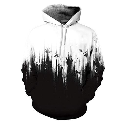 Générique Sweat à Capuche Unisexe 3D imprimé Pull à Capuche avec de Grandes Poches Art Blanc Noir, Cadeaux pour garçons et Filles Moyen