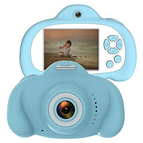 CamKing Kinder Kamera,Anti-Drop Kinder Digitalkamera mit Weicher Silikonhülle und 18MP Dual Lens 2,4 Zoll HD-Bildschirm (Blau)