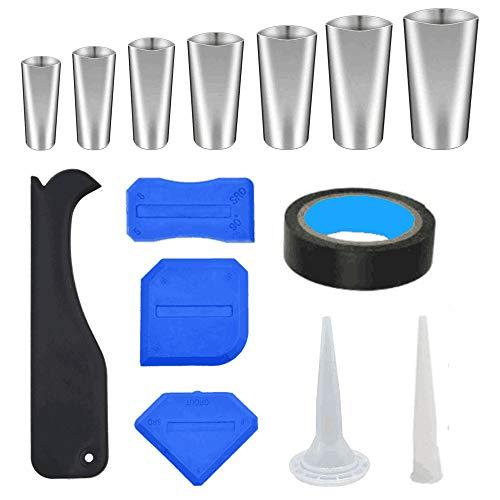 Hosoncovy - 14 piezas de herramientas de calafateo, aplicador de boquilla de calafateo con juego de raspadores, boquilla de sellado de herramientas de silicona para calafateo