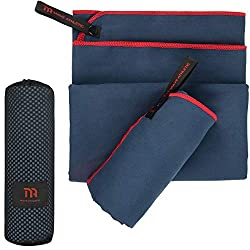 MAVE ATHLETIC® microfiber towels, single or set of 2 - quick-drying microfiber towels for fitness & sports - enormous space-saving travel towel set - ideal for outdoor & travel