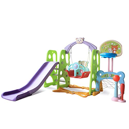 Muyuuu Juego de columpio y tobogán para niños pequeños, juego de tobogán de escalador 6 en 1 con columpio, aro de baloncesto, portería de fútbol, béisbol, música, juego de juego multifuncional para be