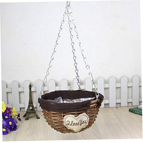 Natural Wicker Hanging Basket Flower Basket Pot Planter Rattan Vase Basket Home...