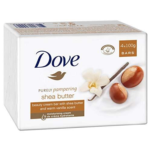 Dove jabón de baño exfoliante con karité y vainilla 4 x 100g