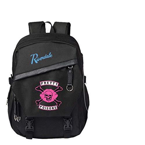 CQW Riverdale Mochila para Estudiantes, Bolsa de Ordenador Recargable por USB, Mochila para Estudiantes Masculinos y Femeninos, Bolsa de Viaje de Ocio al Aire Libre (18)