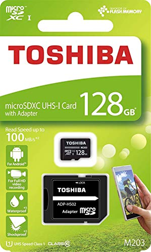 Toshiba M203 128GB Class 10 MicroSDXC 100MB Memory Card with Adapter (THN-M203K1280A2)