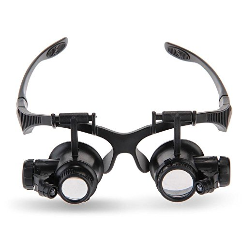 Tmango Magnifying Glasses, Jewelry Loupe, Eyewear Miniature Magnifying Glass Loop, 10x 15x 20x 25x Magnifier Headset Hands Free with LED Lights