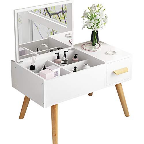 El tocador de Cama pequeña,Dressing Table,se Puede Utilizar como Mesa para Guardar, estudiar y Trabajar,Blanco,80CM