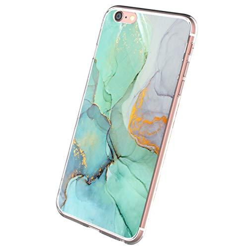 Riyeri Custodia Sottile Compatibile con iPhone 6 Plus Cover Silicone Clear Marmo Trasparente Liquid Crystal Protettiva Case Antiurto Morbida Shell Case TPU Cover Protettiva per iPhone 6 Plus