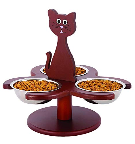 Etna Pet Store Elevated Cat Bowls - This Wooden, Raised Pet Feeder Promotes Better Digestion and is Easy on the Joints - Multiple Cat Feeder with 3 Removable Cat Bowls for Food and Water - Brown