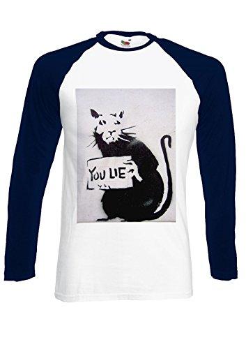 Banksy Mouse Rat You Lie Funny Wall Navy/White Men Women Unisex Long Sleeve Baseball T Shirt-L