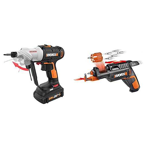 WORX Switchdriver 2-in-1 Cordless Drill and Driver & WX255L SD Semi-Automatic Power Screw Driver with Screw Holder