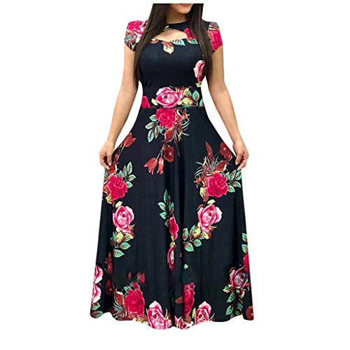 AMhomely Women Dresses Promotion Sale Clearance,Fashion Ladies Short Sleeve Floral Boho Print Long Dress Ladies Casual Dress UK Size 8-26 Navy