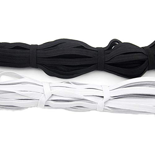 2 Pack Elastic Ribbon Bands 1/4' Width 10 Yards for Clothes Garment Sewing Crafts Accessories - DIY Braided Elastic Bungee Cord Rope - Stretch Knit Spool (White and Black)