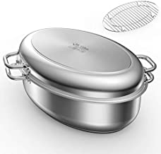 Mr Captain Roasting Pan with Rack and Lid 12 Quart,18/10 Stainless Steel Multi-Use Oval Turkey Roaster, Induction Compatible Dishwasher/Oven Safe Roaster,17 Inch