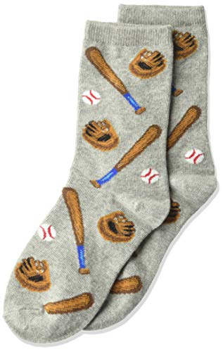 Hot Sox Boys' Big Sports Series Novelty Casual Crew Socks, Baseball (Grey Heather), Large/X-Large Youth