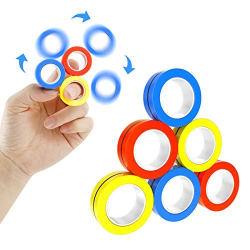 Seamuing 6 Anello Magnetico Giocattolo, Professionali Anelli Antistress Magnetici, Magnetic Bracelet Ring Unzip Toy Giocattoli di decompressione per Adulti e Bambini