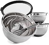 BO-LINE® 3er Edelstahl Schüssel Set mit Deckel inkl. Schneebesen, geeignet als Salatschüssel Rührschüssel Servierschüssel, rutschfester Boden, stapelbar, 4,5l + 2,5l + 1,0l
