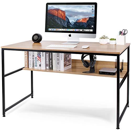 Leader Accessories Schreibtisch 120x60x77cm Bürotisch Stahlgestell PC-Tisch Studentenschreibtisch 1 Ablage Walnuss Dekor/Schwarz