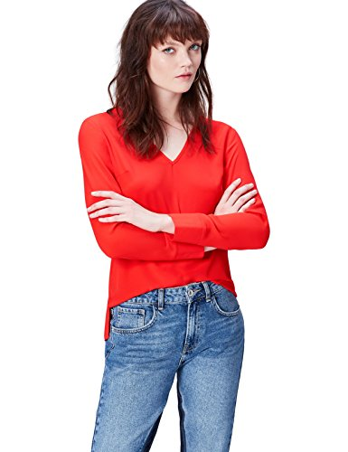Amazon-Marke: find. Damen Bluse V Neck, Rot (Fiery Red 18-1664), 40, Label: L