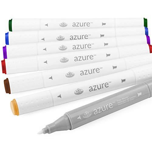 Royal en Langnickel - Azure Artist Markers - Dual Tip - 5 Kleuren + Blender - Opulent Set van 6