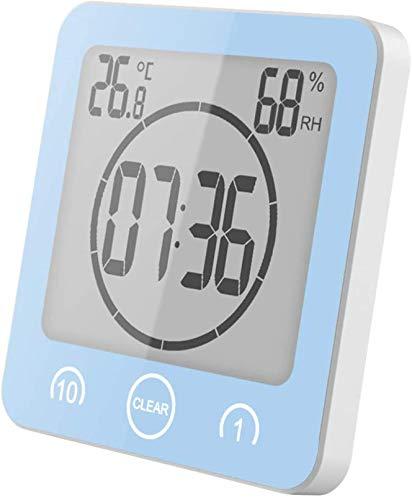 HJTLK Duschuhr Wasserdichter digitaler LCD-Duschuhr-Timer mit Wecker, Badezimmeruhr mit Saugnapf, Temperatur-Feuchtigkeits-Anzeige