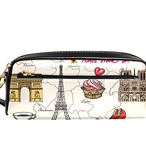 Paris Tour and Food Pattern - Estuche organizador de lápices de gran capacidad para lápices, para la escuela, adolescentes, niños, niñas, hombres y mujeres