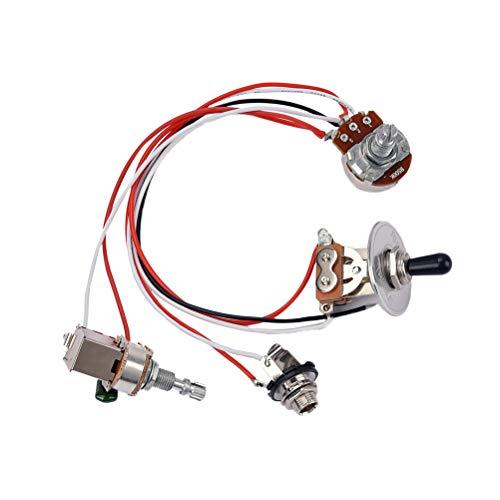HEALLILY 1 Set Cableado para Guitarra Eléctrica Kit Precableado Interruptor de Palanca de 3 Vías 1 Volumen 1 Tono potenciómetro de 500K