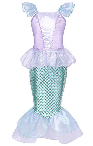 Jurebecia Nias Sirena Disfraz Princesa Vestir Fiesta de Lujo Cumpleaos Halloween Nios Vestidos 3-4 Aos Azul