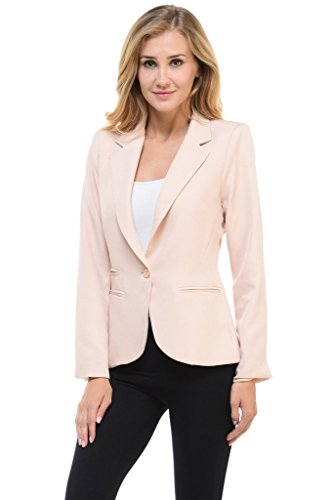 Auliné Collection Women's Color Work Office Long Sleeve Button Lined Blazer Beige XL