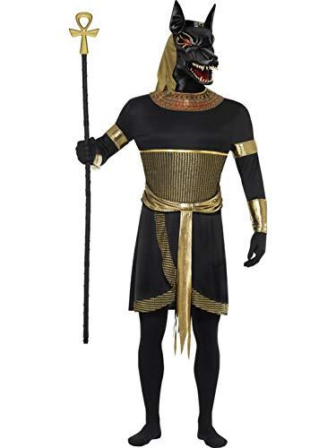 Halloweenia - Herren Männer ägyptischer Gott Anubis der Schakal Kostüm mit Tunika, Kragen, Maske, Armstulpen und Bänder, perfekt für Karneval, Fasching und Fastnacht, L, Schwarz
