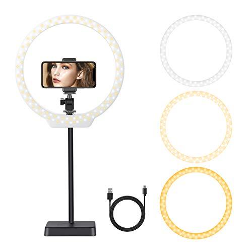 Neewer 26cm USB LED Luz de Anillo: 2-Potencia 5W/10W Regulable Bi-Color 3200-5500K On-Camara Luz con Base de Soporte, Tubo Suave, Abrazadera de Teléfono para Videos de Youtube, Maquillaje