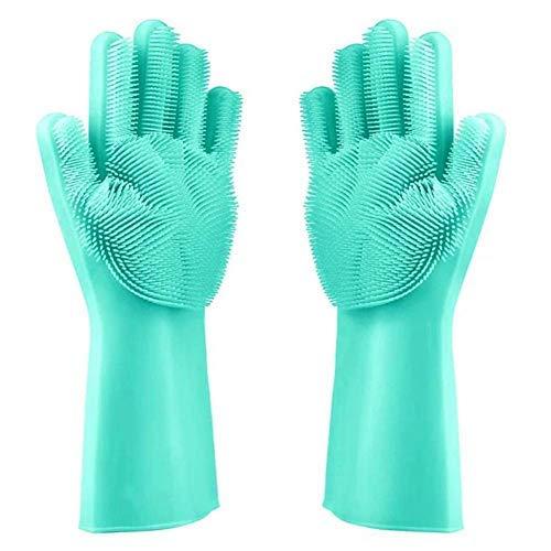 Huai1988 Guantes de Cocina de Silicona para Lavar Platos, Guantes de Limpieza de Silicona para Lavar los Platos, Guantes de Limpieza con Estropajo para Cocina Cuidado del Cabello de Mascotas Verde