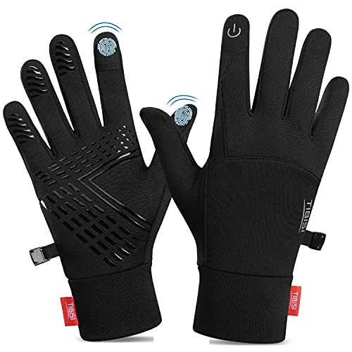 TANSTC Cycling Touchscreen Gloves, Mens Running Gloves Men Women Thermal Gloves, Non-Slip Elastic Cuff Gloves For Running Driving Cycling Climbing Hiking Skiing