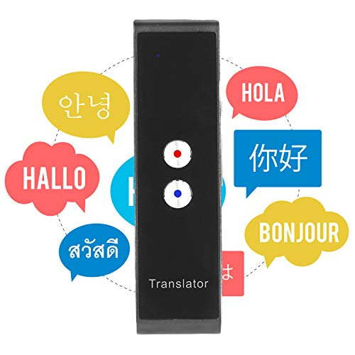 Vapeart Smart Instant Language Translator Device Portable Foreign Language Real-Time 2-Way Translations [Support Up to 44 Languages/Voice Operated] Compatible iPhone Android Smartphone (Black)