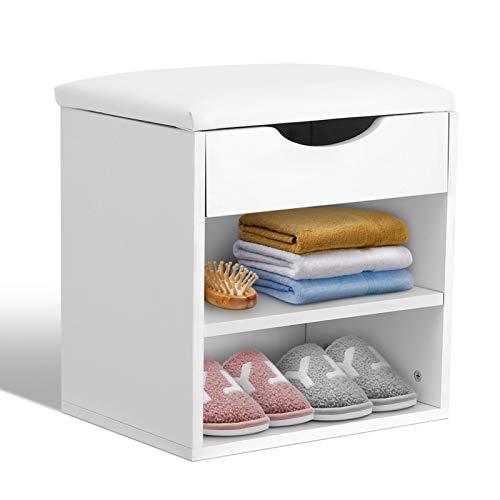 Ejoyous Banco zapatero de almacenamiento con cojín para el hogar, dormitorio, pasillo, banco zapatero de madera, 2 compartimentos, 40,5 x 30,2 x 42 cm