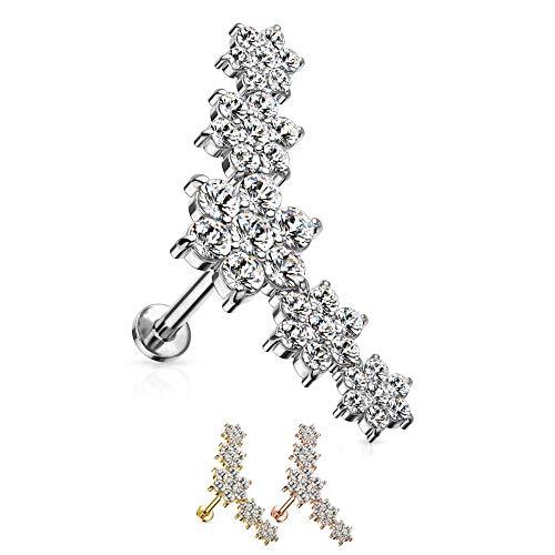 Treuheld® Kristall-Blumen Labret Piercing in 2 Größen [4.] - Silber - 1.2mm x 8mm