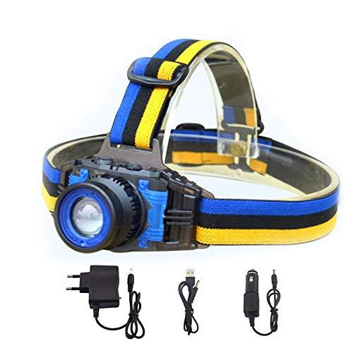 changshuo Linterna Frontal Linterna Frontal Linterna Recargable Foco con Zoom Frontal Lámpara De Cabeza Antorcha Linterna para Pesca Camping Cargador